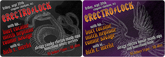 Flyers for ERECTRO/LOCK dj collective